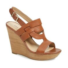 "Sole Society 'Jenny' Slingback Wedge Sandal, 4 1/2"" heel ($70) ❤ liked on Polyvore featuring shoes, sandals, equestrian tan, leather sandals, platform sandals, leather wedge sandals, wedge sandals and strappy wedge sandals"