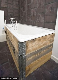 COULD DO AN OLD HOT TUB! Tub-thumping: The bathroom tiles have been created from reclaimed Welsh slate, and the bath is lined with scaffolding boards Reclaimed Kitchen, Reclaimed Timber, Rustic Kitchen, Kitchen Ideas, Bathroom Spa, Small Bathroom, Bathroom Ideas, Bathroom Remodeling, The Block