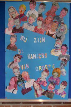 Groepswerk: foto's van de kinderen zwart-wit uitgeprint en laten inkleuren.