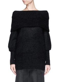 ACNE STUDIOS - 'Daze' mohair wool convertible shawl collar top | Black Sweater Knitwear | Womenswear | Lane Crawford
