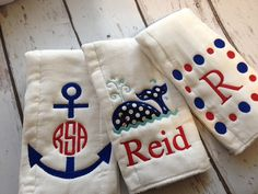 Hey, I found this really awesome Etsy listing at https://www.etsy.com/listing/218114078/nautical-personalized-burp-cloths-set-of