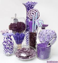 Purple Candy Buffet    Delicious treats in an assortment of sizes, sheens, shapes, and shades of purple makes this candy buffet design fit for royalty!