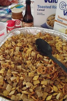 Making the original Chex Mix for a crowd. My favorite snack. Recipe can be doubled, or even tripled. (recipes for snacks chex mix) Baked Chex Mix Recipe, Snack Mix Recipes, Cereal Recipes, Yummy Snacks, Appetizer Recipes, Healthy Snacks, Cooking Recipes, Yummy Food, Appetizers