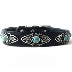 Leather dog collars featuring unique conchos and turquoise for small dogs.