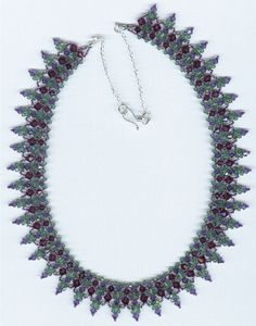 You can find this pattern here: http://store.sandradhalpenny.com/amethyst-crystal-necklace-pattern-p142.php