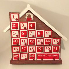 Red Wooden Light Up LED Advent Calendar With Pull Out Drawers Retro Shabby Style