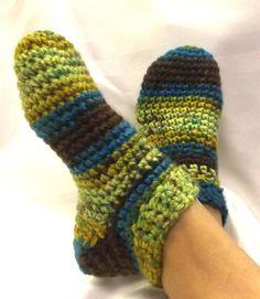 Crochet+Slipper+Socks | Slipper Socks Handmade Crochet Unisex Adult Bootie by SewDarnComfy, $ ...