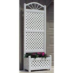 Dura-Trel Sunburst Lattice Vinyl Planter Trellis w