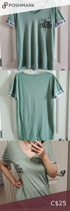 PINK Victoria's Secret Sleepwear T-Shirt This is such a cute t-shirt dress/night shirt! Features a jersey style sleeve with the classic Pink logo, and a front pocket that says 'Today has been canceled.' This shirt is a beautiful sea foam green color! •Made of 60% cotton and 40% modal •In 8/10 great preloved condition •Note the wear in the lettering on the pocket and slight pilling through out the shirt. •Comes from a smoke free and pet free home! •Bundle 2 or more items in my closet to get a… Victoria Secret Pajamas, Victoria Secret Pink, Dress Night, Tie Dye Sweatshirt, Pajama Shorts, Cute Tshirts, Sea Foam, Shirt Dress, T Shirt