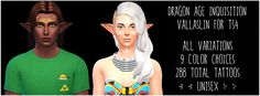 """Dragon Age Dalish Vallaslin / Sims 4   """"There are 288 total facial tattoos here, 144 for each gender. They include 16 unique designs, with 9 color options for each."""" - cupcakeonastick"""