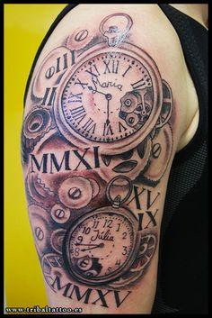 Tattoo Rellotge antic, reloj, clock, tribal tarragona - tattoo erradura rosas…