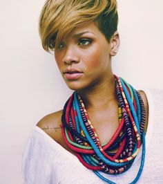 Look at Robin Rihanna and all of those beautiful, colored beaded necklaces! So pretty.