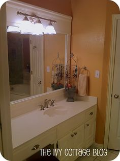 DIY Bathroom Mirror Frame