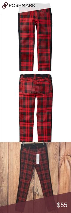 """Hudson Jeans Leeloo Red Plaid Girls Jeans Sz 16X29 New Hudson Jeans Leeloo Red Plaid Girls Jeans Sz 16X29 Measurements Laying Flat Apr  Waist  12.5"""" Hips  15"""" Rise  8.5"""" Inseam 29"""" Fit Like A Size 24   women's   Check Out My Other Items   Thank You For Looking Hudson Jeans Bottoms Jeans"""