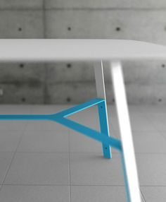 Zug Table Powder Coated Metal Leg Crossbar Detail | Contemporary Furniture Design
