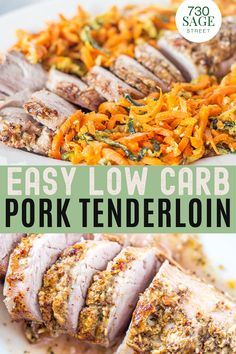 This low carb Parmesan Dijon pork tenderloin recipe is delicious. It's perfectly tender thanks to an overnight marinade. Pairs perfectly with a side dish of garlic herb veggie spirals for an easy #dinner.#easyrecipe #onthetable #lowcarbrecipes #porkrecipes