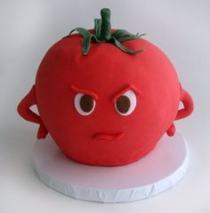 Judgmental Tomato Cake (is awesome! Pretty Cakes, Beautiful Cakes, Amazing Cakes, Cupcakes, Cupcake Cakes, Cake Pops, Snail Cake, Tomato Cake, Scary Cakes