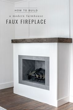 Step by step tutorial to exactly how to build a DIY faux modern farmhouse fireplace surround with rustic wood mantel. fireplace surround modern How I Built A Faux Modern Farmhouse Fireplace Fireplace Box, Build A Fireplace, Farmhouse Fireplace, Modern Fireplace, Fireplace Mantels, Diy Faux Fireplace, Modern Electric Fireplace, Faux Mantle, Floating Fireplace