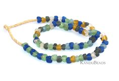 Handmade Recycled Glass Beads Multi-Color Buttercup shape 10 inch strand (Made In Ghana Africa)