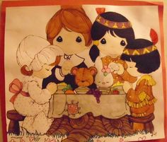 "Precious Moments picture ""The First Thanksgiving"" Wall Decor"