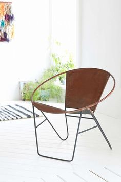 modern side chair | neutral living room side chair | Jax Leather +Wire Chair