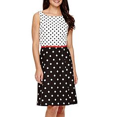 jcp   Ronni Nicole® Sleeveless Polka Dot Fit-and-Flare Dress