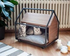 CAGE - Cat or Little Dog Cave / Bed Furniture - CAGE cat or small dog cave / bed furniture Pet Beds, Dog Bed, Dog Cave, Bed Images, Cat Room, Pet Furniture, Dog Houses, Little Dogs, Wooden House