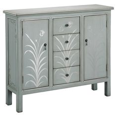 Stow china and spare linens in this elegant wood chest, featuring 2 doors, 4 drawers, and a hand-painted floral motif.         Pr...