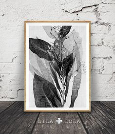 Black and White Botanical Print, Abstract Plant Wall Art, Nature Decor, Modern Minimal, Printable Art, Instant Download, Large Art Poster