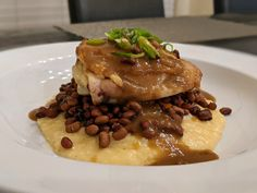 Another copycat from Husk Greenville, which is now @huskbbq. Crispy Chicken Thigh, Roasted Sweet Potatoes, Sea Island Red Peas, Cheese Grits and Red-Eye Gravy. #Dinner #Copycat #Recipes @AnsonMills @AsheCheese Red Eye Gravy, Red Peas, Grilled Sweet Potatoes, Cheese Grits, Crispy Chicken, Chicken Thighs, Copycat Recipes, Great Recipes, Sea