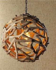Driftwood Ball Pendant Light - Anyone going for the coastal look in their home? A driftwood pendant light will instantly add beach chic your. Diy Pendant Light, Contemporary Pendant Lights, Pendant Lighting, Pendant Lamps, Ceiling Pendant, Driftwood Chandelier, Chandelier Ideas, Handmade Chandelier, Handmade Lamps