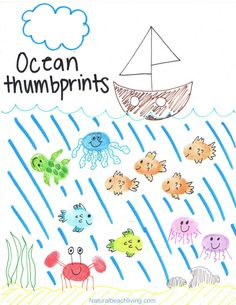 Thumbprint Ocean Animals, makeFingerprint Art Animals with your kids with a free printable tutorial to make it easy for you. Easy to follow step by step directions. Add these Ocean Animal crafts to any ocean theme, These thumbprintanimal pictures are adorable. fingerprint animals pictures, how to make fingerprint animals #ocean #oceanart #oceananimals #artforkids #oceantheme #preschool #kindergarten #thumbprintanimals #fingerprintanimals