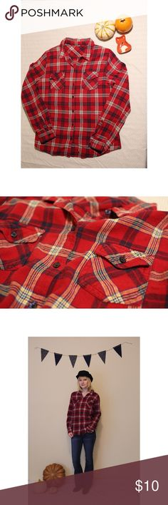 Red Plaid Flannel Size: Tag removed, fits like a small Materials: Tag removed, feels like cotton Measurements: 25 inches long, 20 inches wide, 25 inch sleeve length Notes: Gently used, tag removed, light fading from washing. overall great condition no signs of any stains or imperfections. Tops Button Down Shirts