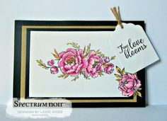 Made using Crafter's Companion Stamps by Stacey Barrass Perfect Peony coloured with Spectrum Noir AquaBlend Florals pencils. Designed by Laine Webb #crafterscompanion #spectrumnoir