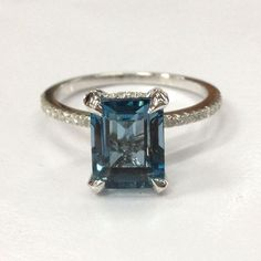 $519 Emerald Cut London Blue Topaz Engagement Ring Pave Diamond Wedding 14K White Gold 7x9mm