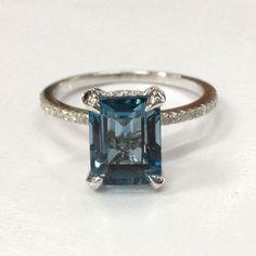$519 Emerald Cut London Blue Topaz Engagement Ring Pave Diamond Wedding 14K White Gold 7x9mm