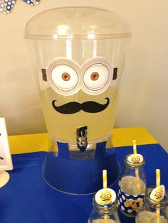 Fun drinks at a Minion birthday party!  See more party planning ideas at CatchMyParty.com!