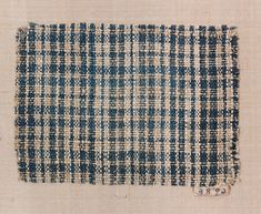 Plaid textile fragment, linen, woven, American, late 18th to early 19th century