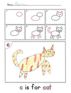FREEBIE.  Download this directed drawing instruction page now :)  Alphabet activity - How to Draw a Cat