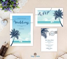 Beach wedding invitations printed on white shimmer paper