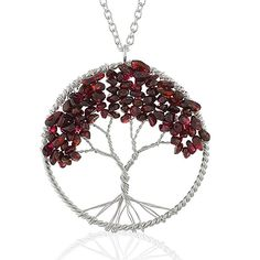 Silver-Plated Brass Eternal Tree of Life Blue, Purple, Red Stone Bead Branch Necklace, 30 inches|Amazon.com