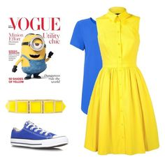 """Minion dress up"" by scamp23 ❤ liked on Polyvore featuring Karen Millen, Converse and Bora"