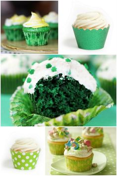 Shamrock cupcakes made from red velvet cake recipe Green Velvet Cake, Red Velvet Cupcakes, Green Cupcakes, Green Cake, Cupcake Party, Cupcake Cakes, Cupcake Ideas, Dessert Ideas, Cup Cakes