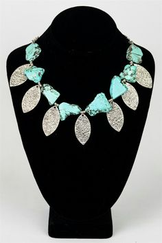 Leaf and Turquoise Necklace