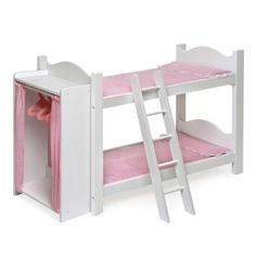 Doll Furniture - Badger Basket Doll Bunk Beds with Ladder and Storage Armoire fits American Girl dolls -- More info could be found at the image url. Bunk Beds With Storage, Bed Storage, Ladder Storage, Doll Storage, Girl Dolls, Baby Dolls, Poupées Our Generation, Doll Bunk Beds, Bois Diy