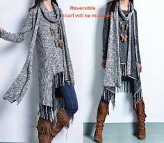 Rêve  tunique de coton bordée robe et écharpe de par idea2lifestyle