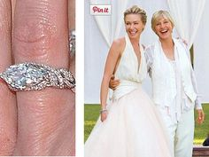 Portia de Rossi and Ellen DeGeneres wedding Ellen Degeneres Wedding, Ellen And Portia Wedding, Ellen Degeneres And Portia, Portia De Rossi, Our Wedding, Wedding Rings, Lgbt Couples, Prom Dresses, Formal Dresses
