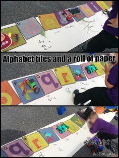 Alphabet tiles and a roll of paper Outside Activities, Phonics Activities, Reading Activities, Literacy Strategies, Letter Activities, Eyfs Classroom, Outdoor Classroom, Eyfs Outdoor Area, Ideas