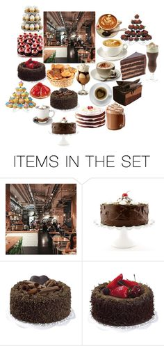 """""""Coffee Shop"""" by lynette-kenfin ❤ liked on Polyvore featuring art, food, cake, coffee, coffeeshop and HotChocolate"""