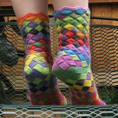 Rainbow Patch Knitted Socks Idea – DIY